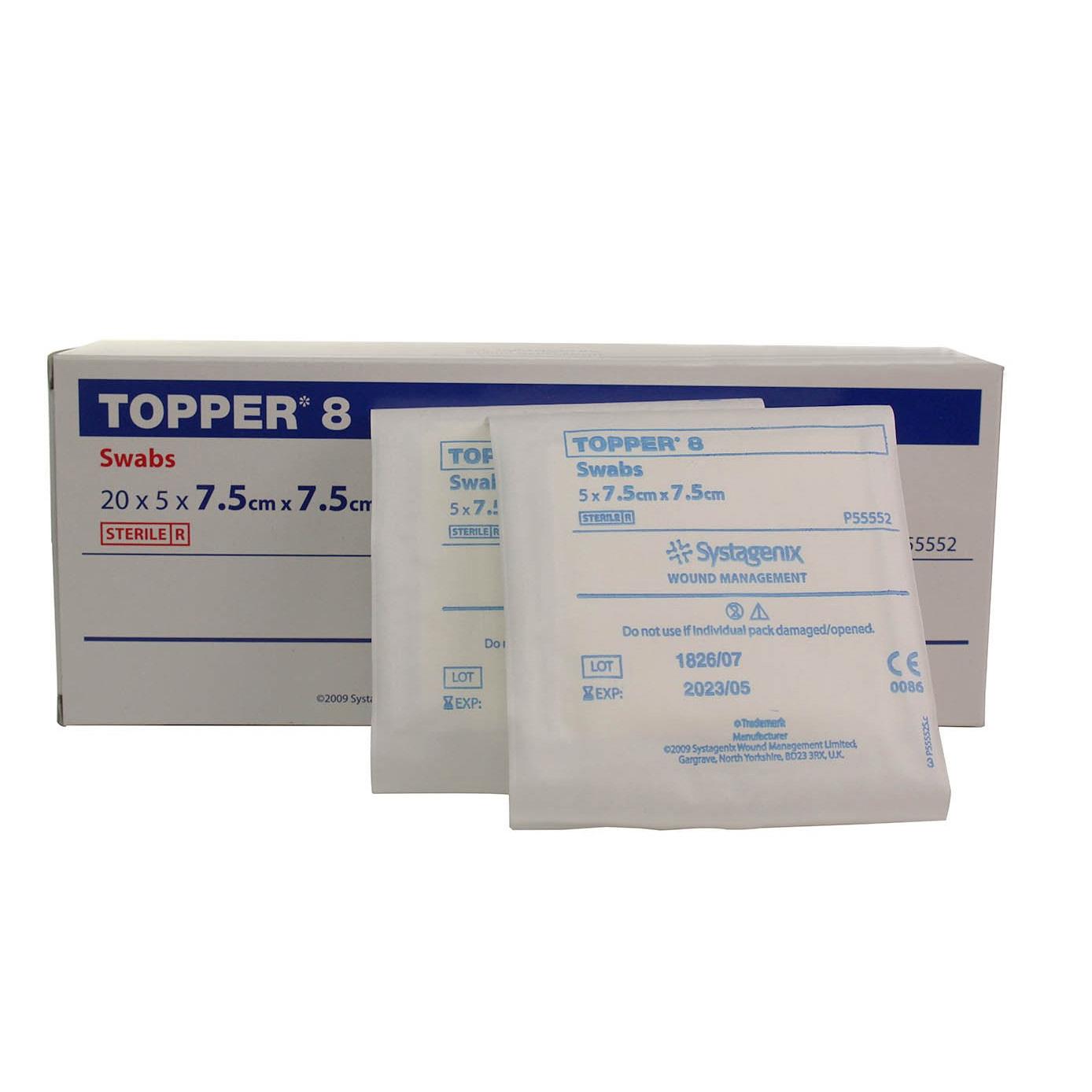 Topper 8 Swabs Sterile 7.5cm