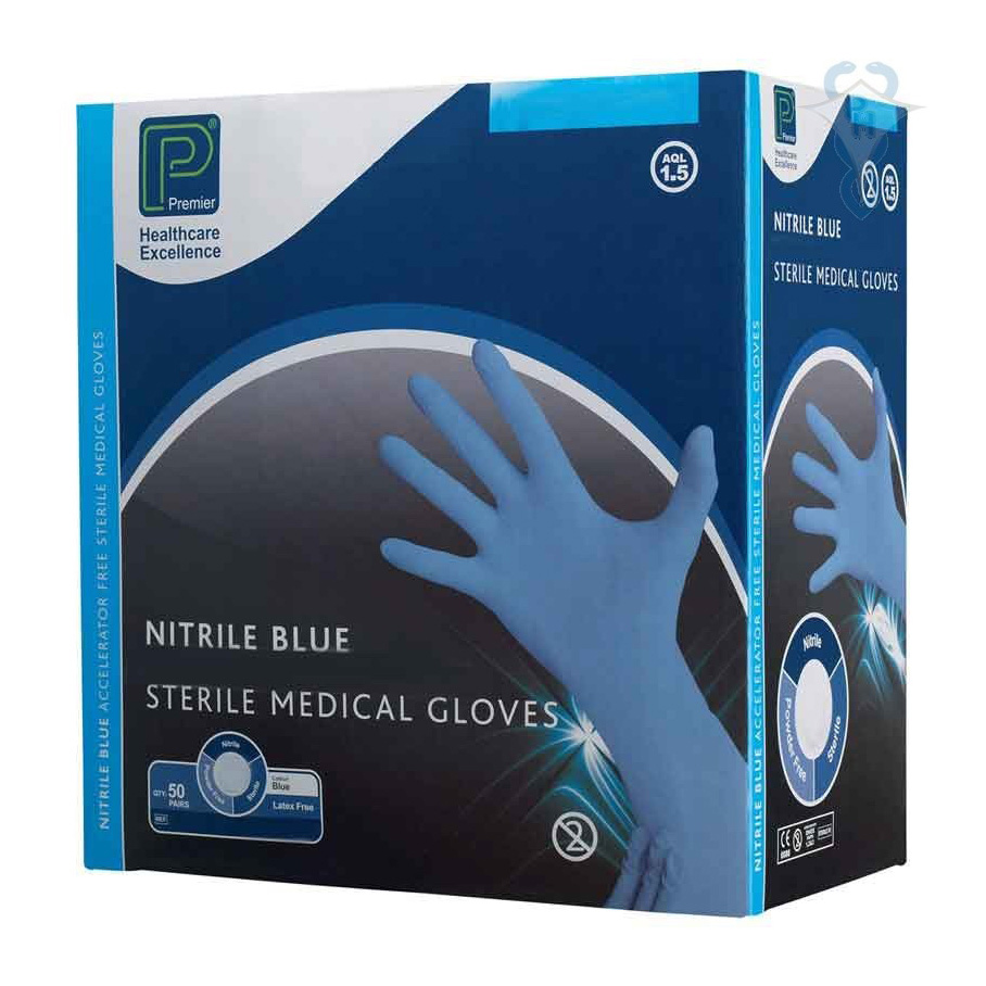 Premier Sterile Blue Nitrile Gloves Small