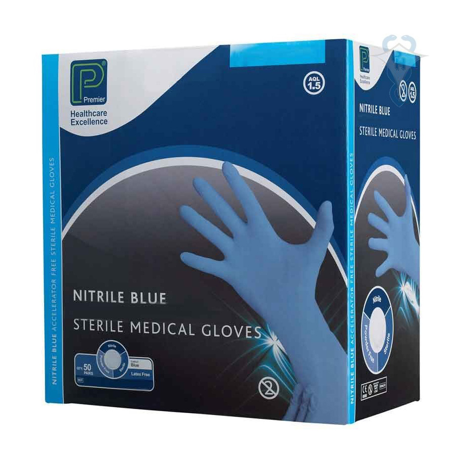 Premier Sterile Blue Nitrile Gloves Medium