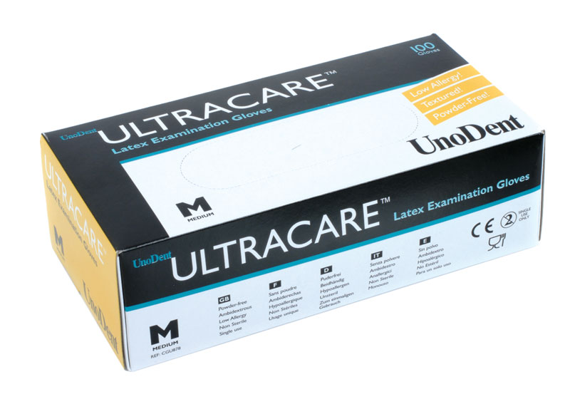Ultra Care P/Free Latex Gloves Medium Box 100