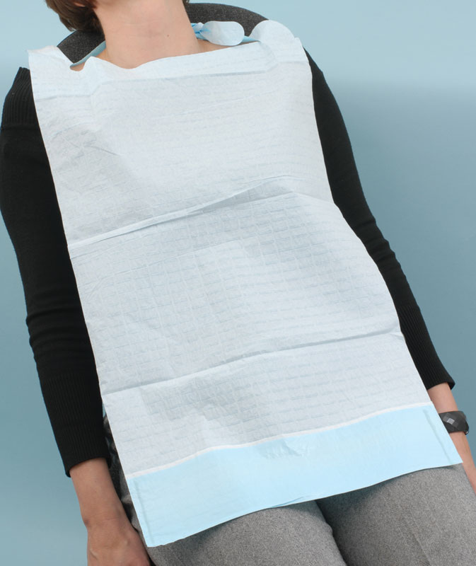 Patient Bib with Collection Pocket Light Blue