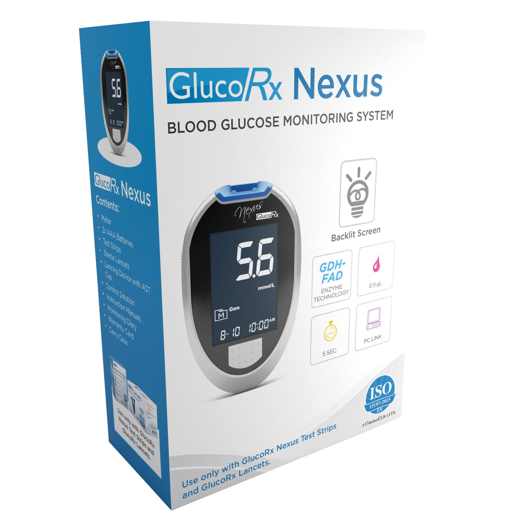 GlucoRx Nexus Blood Glucose Meter