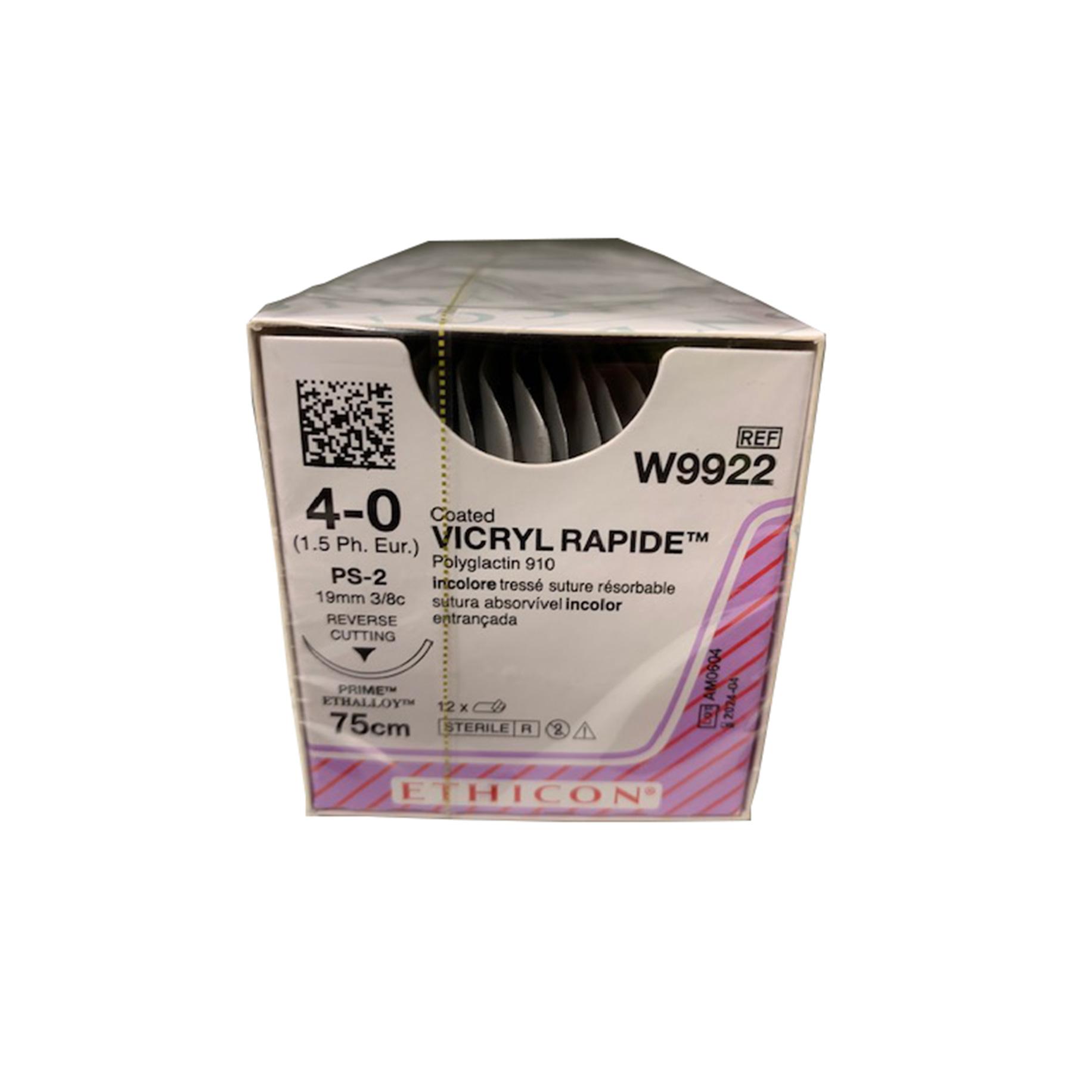 Vicryl Rapide Suture W9922 4/0 Gauge Box 12