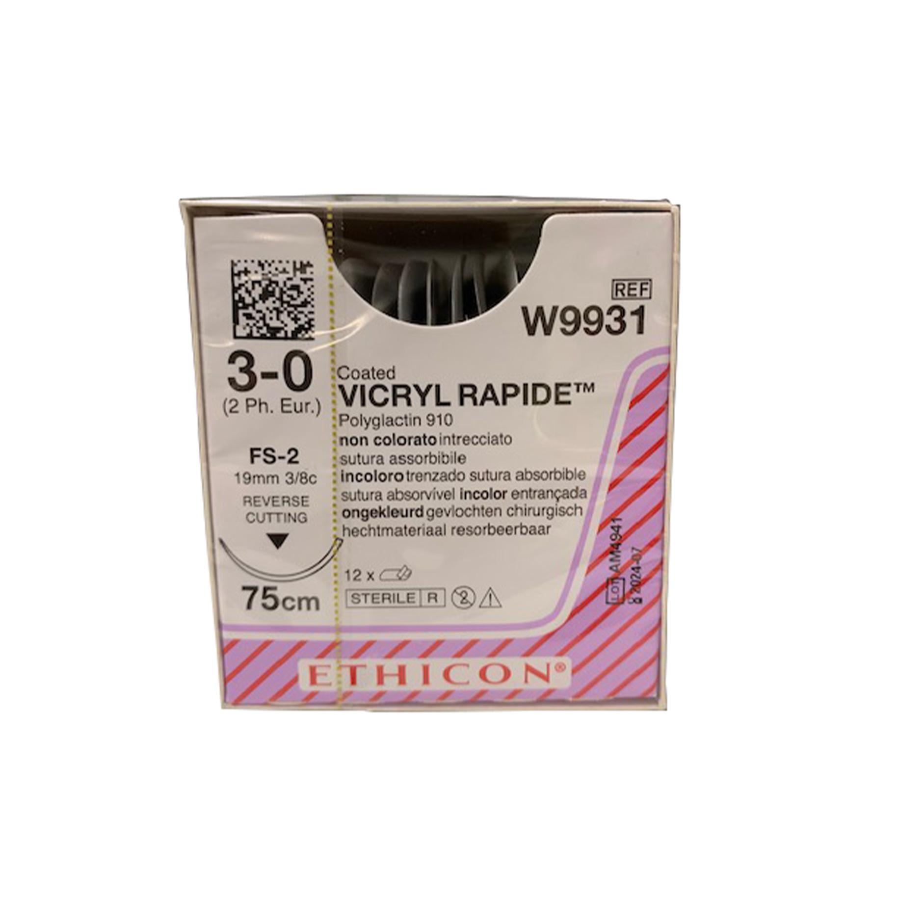 Ethicon Suture W9931 3/0 Gauge Box 12
