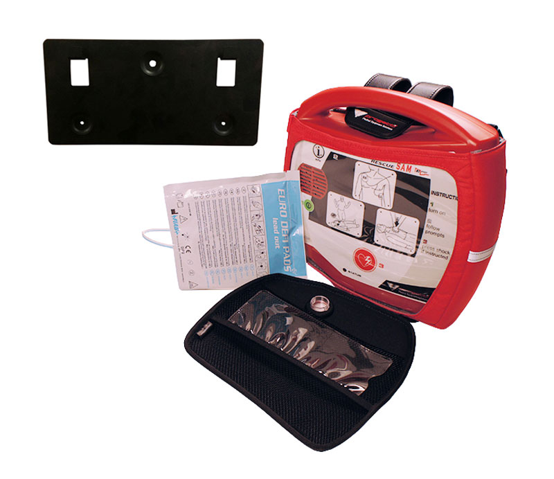 Fully Auto. AED  Rescue SAM + W/Bracket